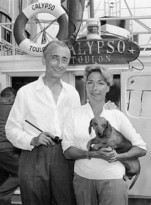 Jacques Cousteau and his dachshunds
