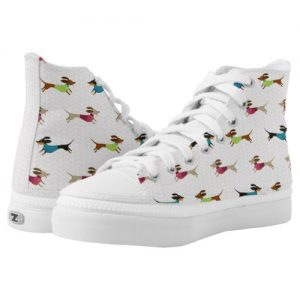 Delightful Dachshund Pattern High-Top Sneakers