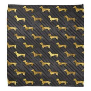 Black and Gold Dachshund Pattern Bandana