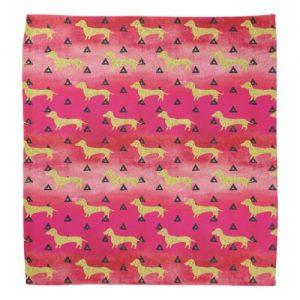 Red/Gold/Black Dachshund & Triangles Pattern Bandana