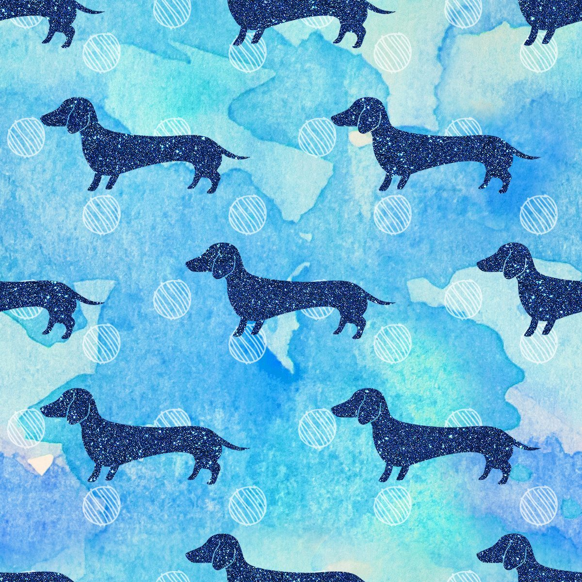 Blue Glitter Watercolor Dachshund Pattern