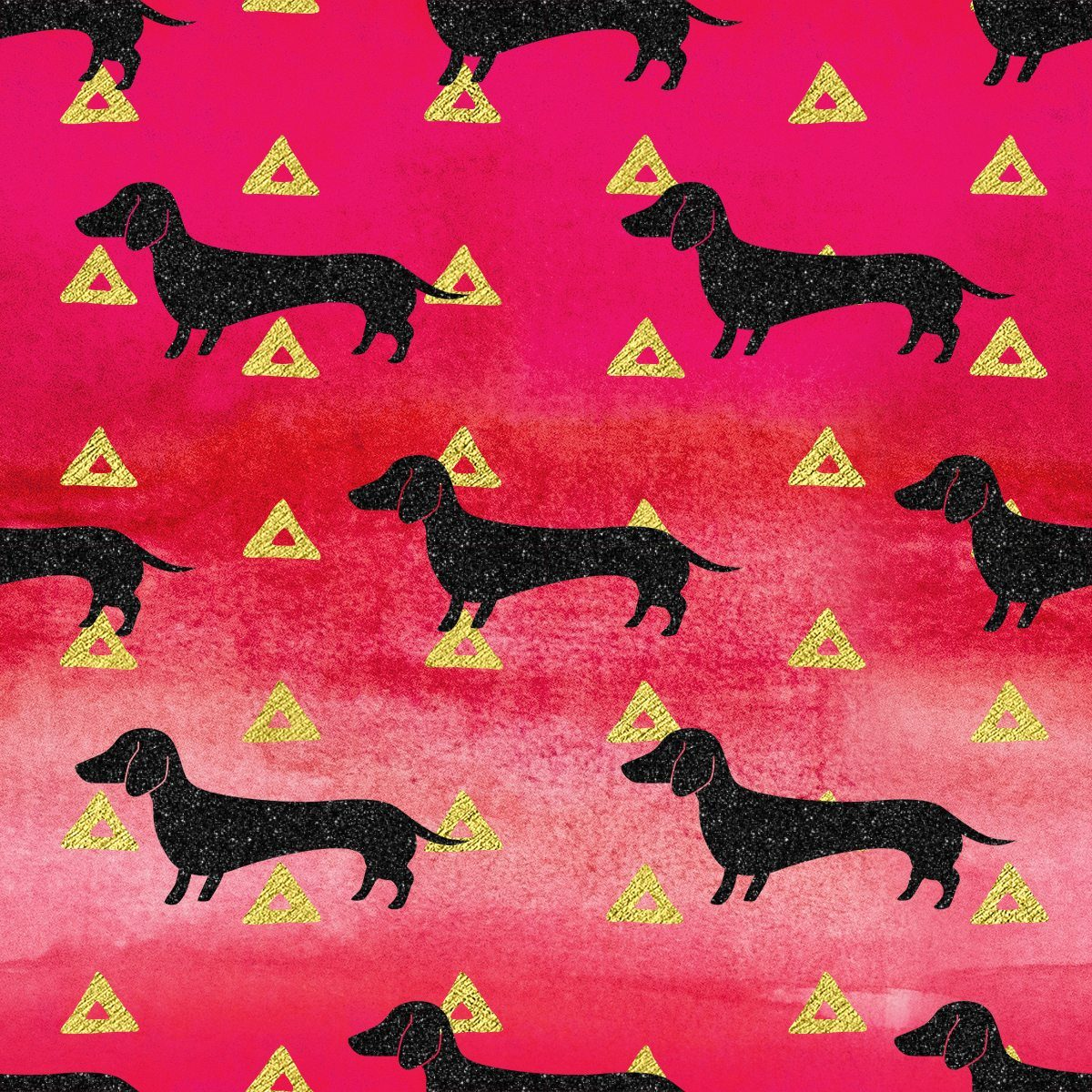Red/Gold/Black Dachshund & Triangles Pattern